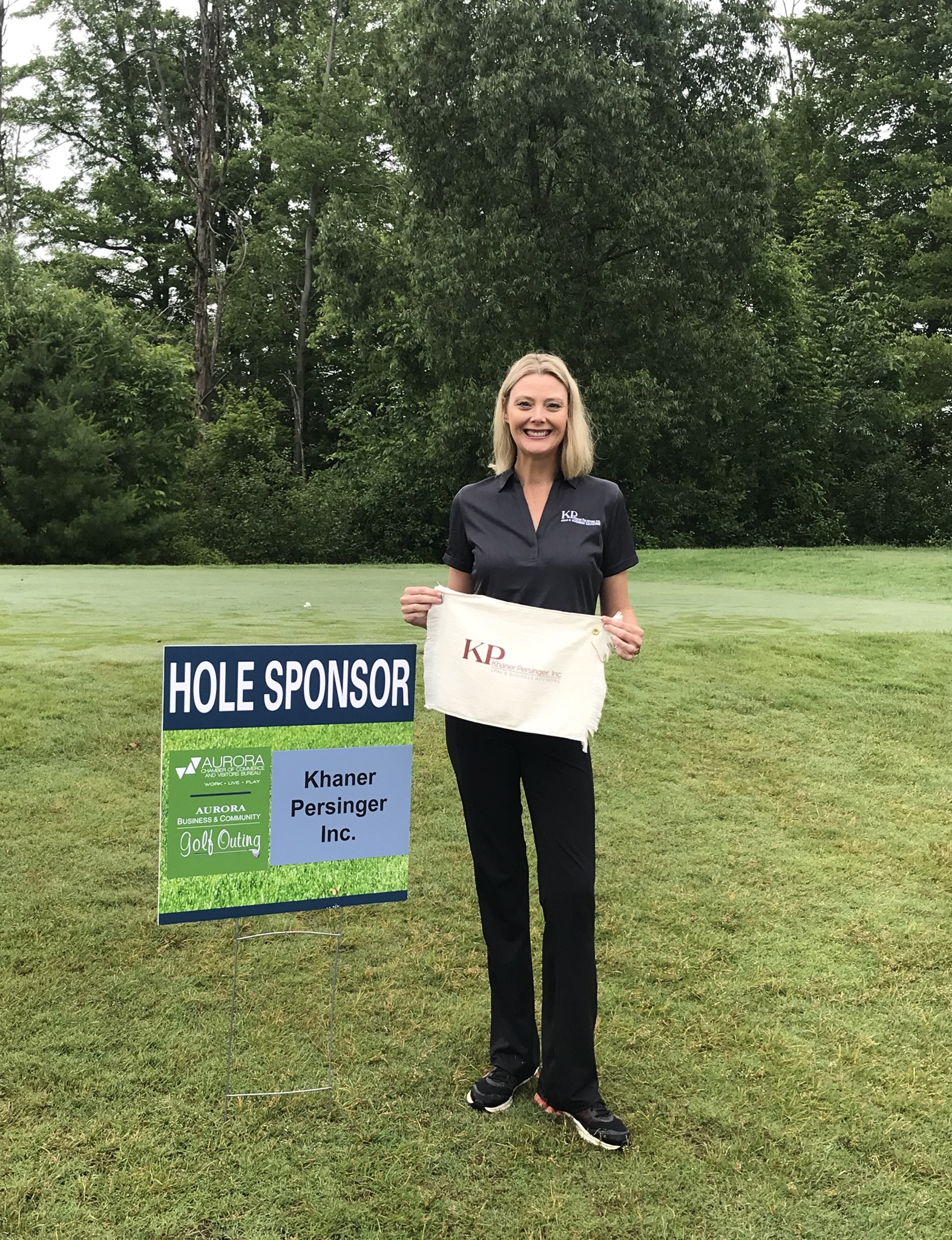 Such a fun day lead generating and passing out golf towels to the golfers at the 2019 Aurora Business & Community Golf Outing for Khaner Persinger, Inc.