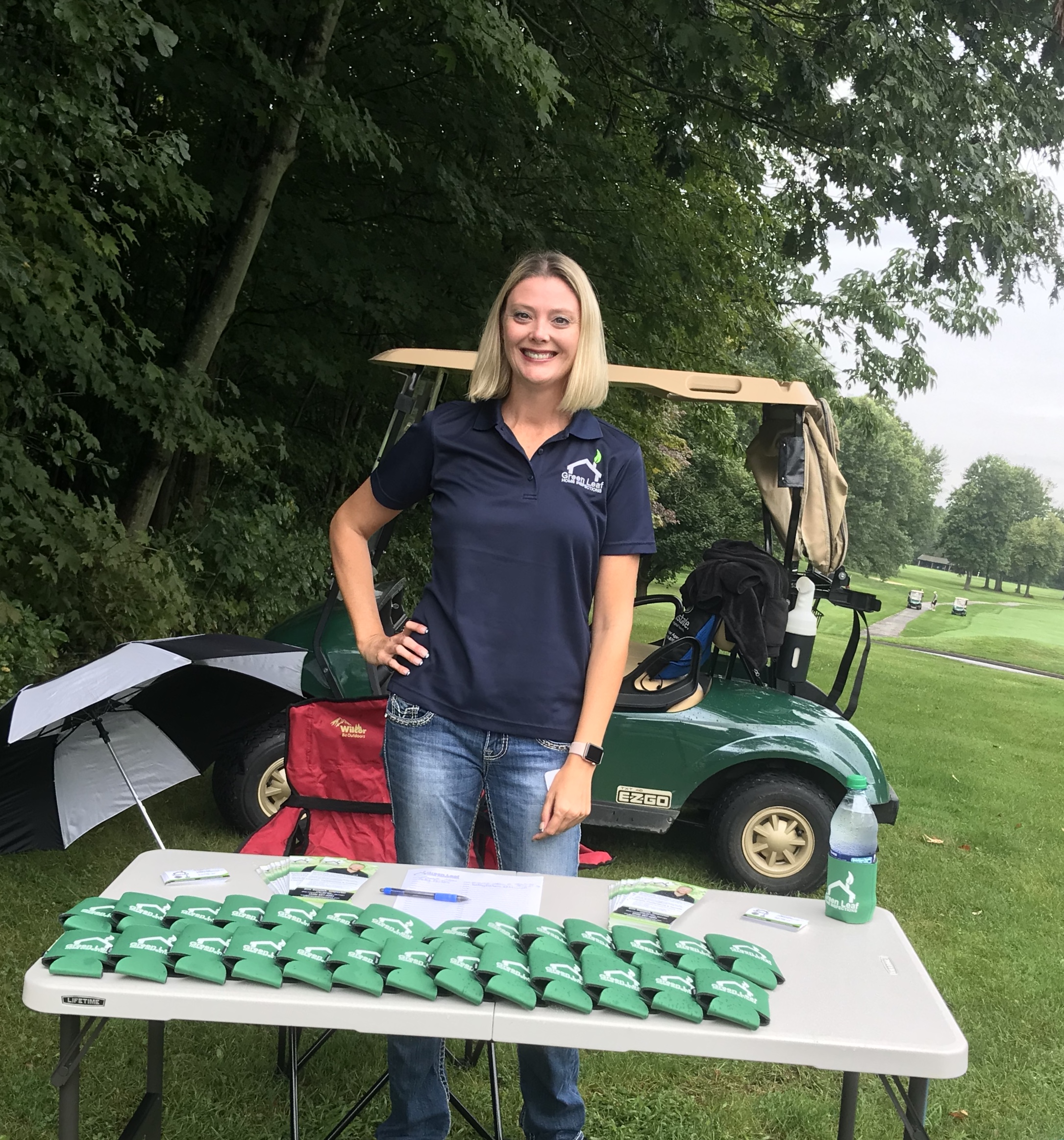 It was a fun, wet day at Fowler's Mill Golf Course for the LGAAR Annual Golf Scramble representing Green Leaf Home Inspections. Real Estate industry professionals were able to leave hole #2 with a custom GLHI koozie and information for future home inspections.