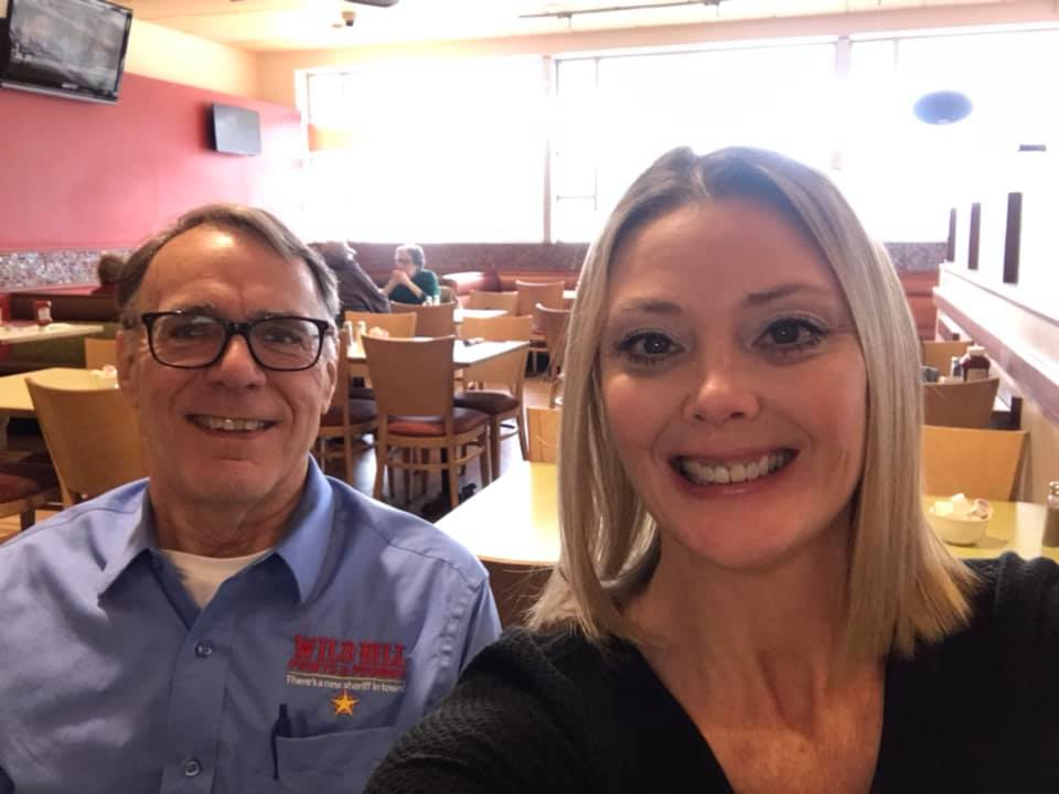 Breakfast and networking with the Sheriff, Bill Wild Wagner of Wild Bill Prints & Promos before dropping off promotional items today