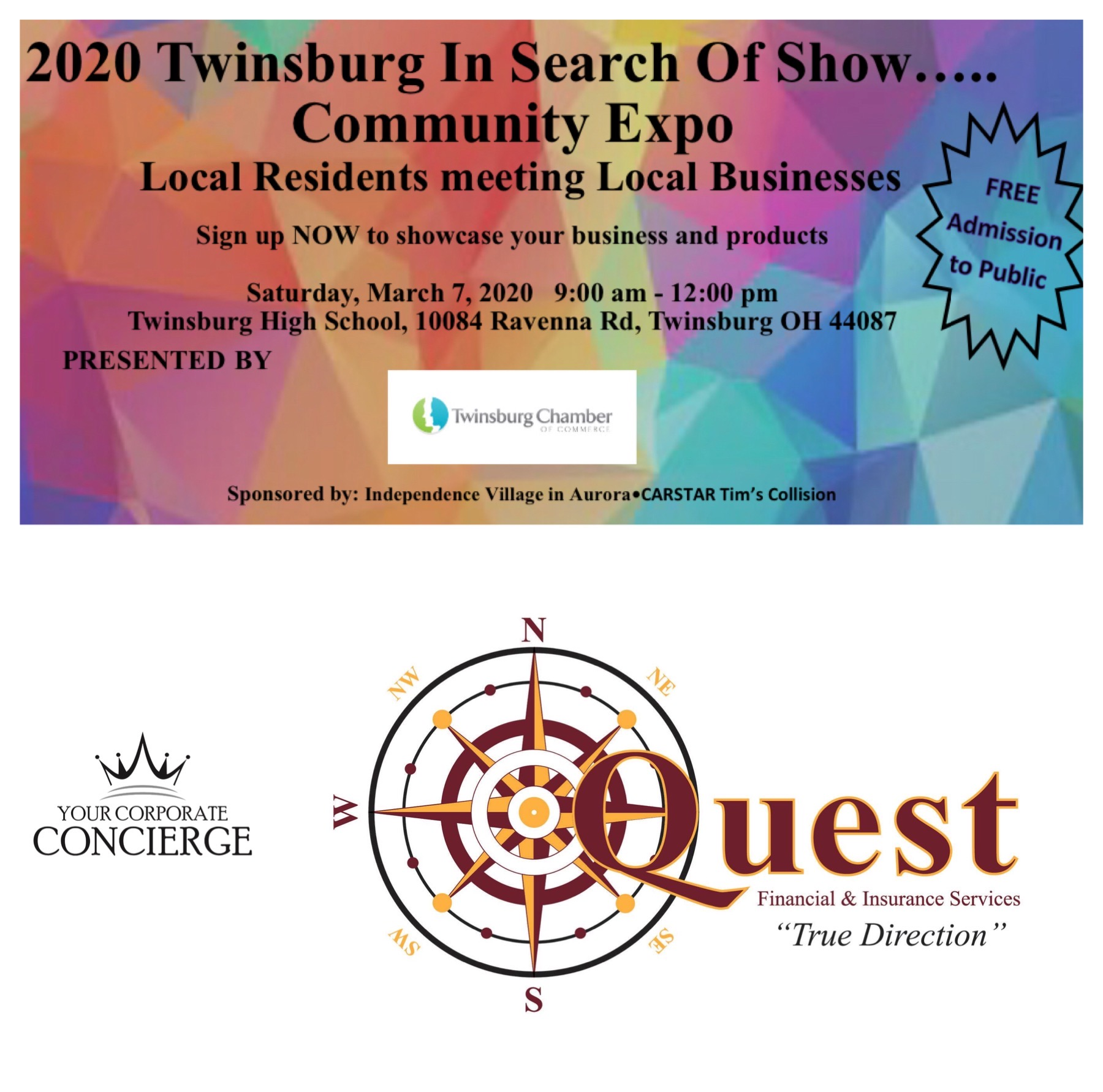 Look for your favorite Brand Ambassador representing Quest Financial & Insurance Services at the 2020 Twinsburg Community Expo 3/7/2020!!