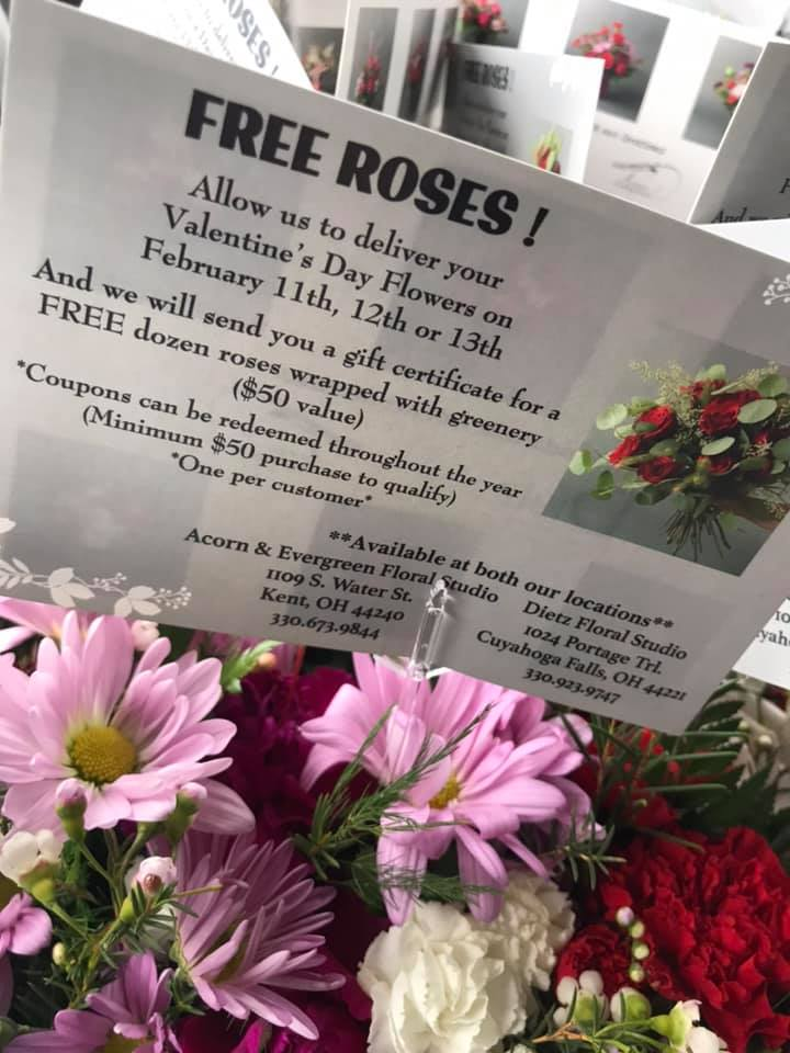 Representing Acorn & Evergreen Floral Studio and Dietz Floral Studio, delivering beautiful arrangements for their Valentine's Day special.  Make sure to take advantage of this promotion!