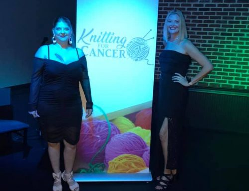 Raising funds for Knitting for Cancer at Front St. Social