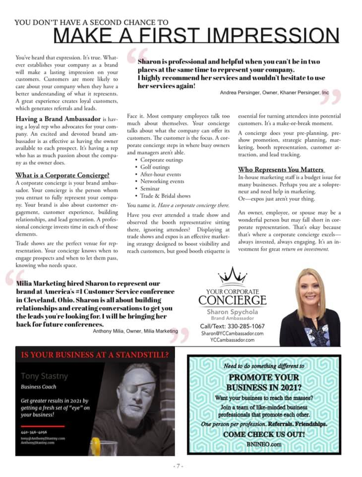 Woot woot!  I never thought I'd be a centerfold... Thank you The Next Level Newsletter for a unique opportunity to promote Your Corporate Concierge to your subscribers.  We truly only have ONE chance to make a first impression.  Are you going to make it last?