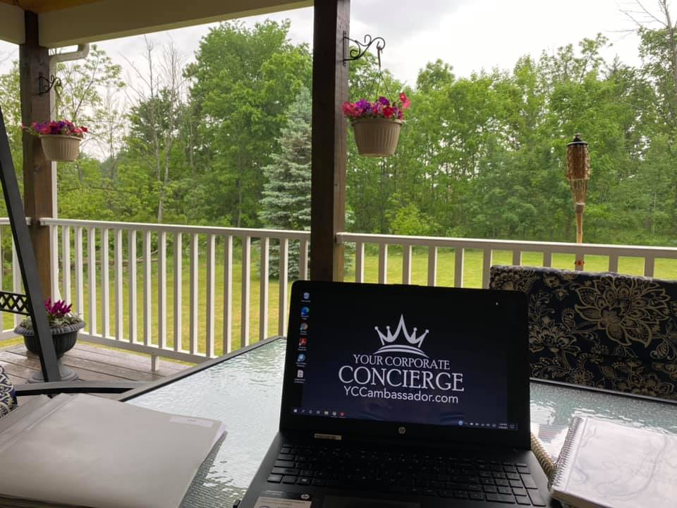 It's outdoor office season for this Brand Ambassador. The assistant will just have to deal with the rain today.