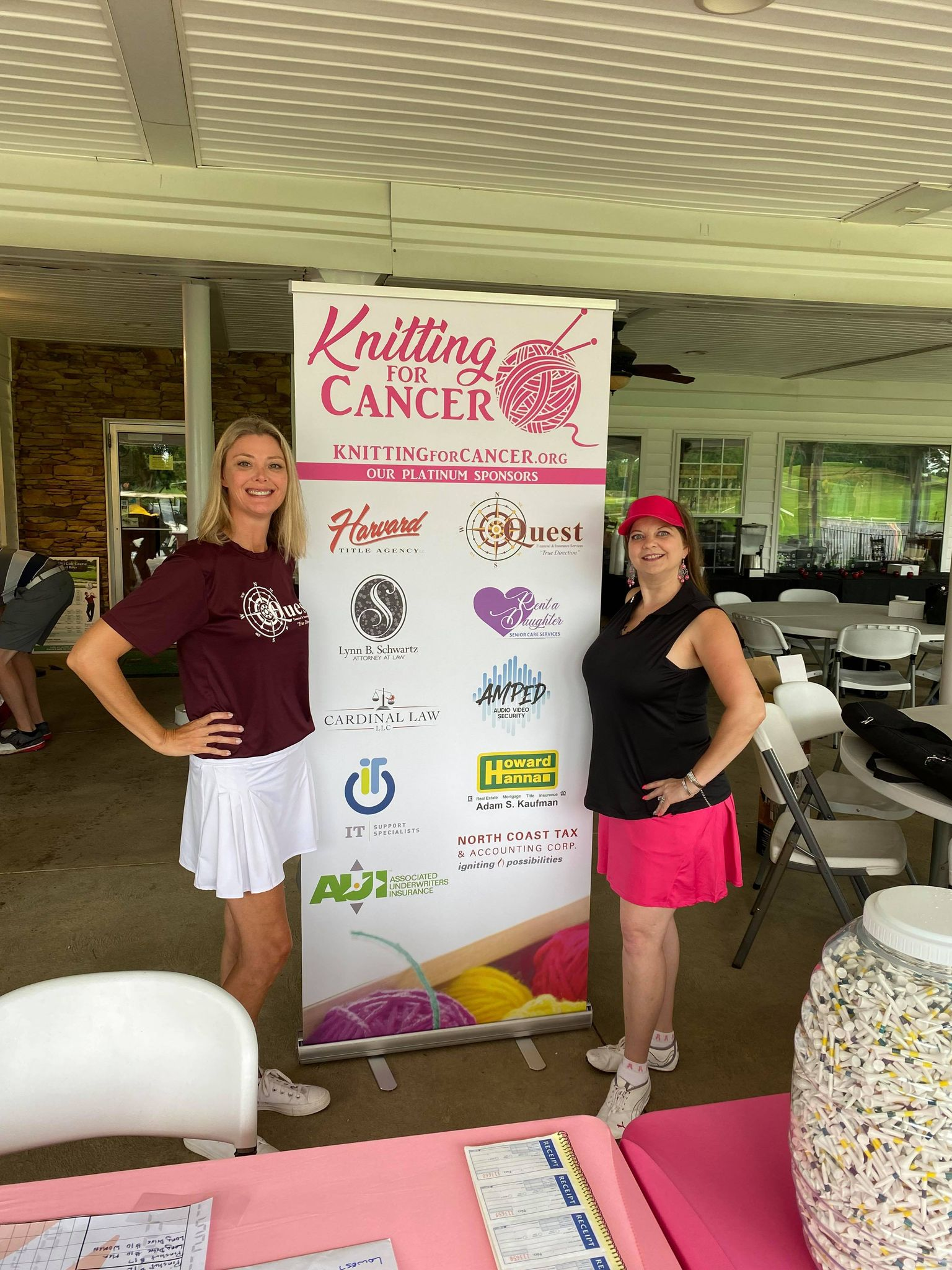Wow, what a day! Our 1st Annual Knitting for Cancer Golf Outing was a complete success. Thank you to Quest Financial for being our Corporate Sponsor and the opportunity to be your Brand Ambassador once again. We definitely made an impression out there on the course! With everyone's help, we were able to raise over $3,500 for cancer warriors!!