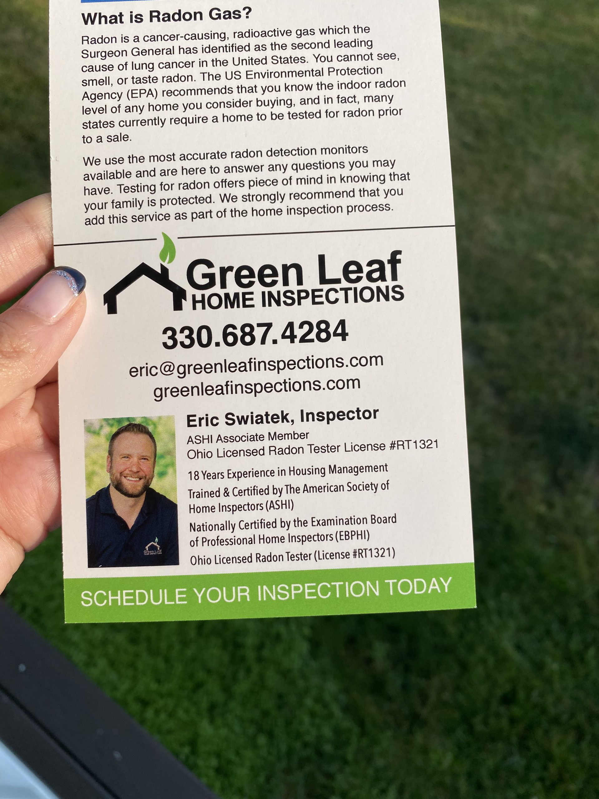 It was another beautiful day to be out visiting real estate agents around Northeast Ohio for Green Leaf Home Inspections on Brokers Tour. It was AMAZING to run into so many familiar faces along the way and share about the services Green Leaf has to offer.